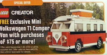 lego vw t1 camper van 40079 modular brick. Black Bedroom Furniture Sets. Home Design Ideas