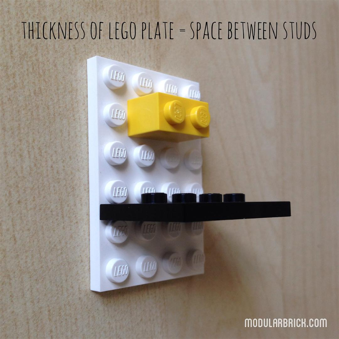 Thickness of LEGO plate is space between studs